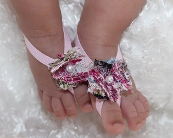 Barefoot Sandals, Baby Pink Sandals, Newborn Shoes, Baby Sandals, Newborn Sandals, Flower Sandals, Girls Sandals, Wedding Sandals