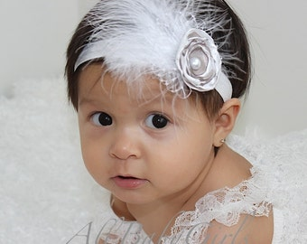 White Baptism Headband, Christening, Baby Headband, Newborn Headband, Infant Headband, Baby Girl Headband, Baby Head Wrap, Toddler Headband,