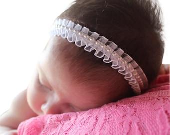 Pearls Baby Headband, Baptism Headband, Baby Headband, Newborn Headband, Baby White Headband, Christening Headband, Baptism Accessories