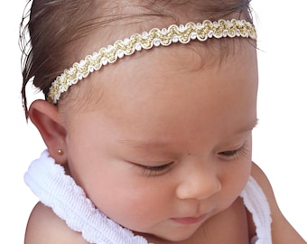 Baptism Headband, Baby Headpiece, Baby Headband, Infant Headband, Headband for babies, Christening Headband, Gold Headband