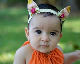 Pink Ears Headband, Infant Ears Headband, Gold Ears Headband, Spring Headband, Girls Headband, Ear Headband