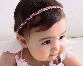 Braided Headpiece, Pink Headband, Suede Headband, Newborn Headband, Infant Headbands, Baby Headband, Pearls Headband, Baby Headpiece