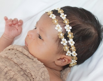Two Strand Headband,Gold Headband, Gold Boho Headband, Bohemian Headband, Hippie Headband, Baby Headband, Gold Headbands