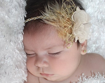 Baptism Headband, Gold Flower Headband, Baby Headband, Headbands For Babies, Gold Headband, Infant Headbands, Baptism Flower Headband