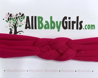 Knot Headband, Fuchsia Headband, Baby HeadWrap, Fuchsia Turban, Celtic Knot Headband, Sailors Knot, Hair Wrap, Baby Headband, Baby Head Wrap