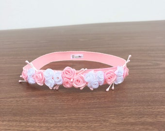 Pink Flowers Headband, Baby shower Gift, Pink Headband, Baby Headband, Flowers Headband, Infant Headband, Baby Headband, Girl Headband