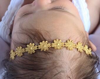 Gold Headband, Baby Headband, Gold Baby Headband, Flower Headband, Halo Headband, Halo Headbands