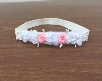 White Flowers Headband, Baby shower Gift, Pink Headband, Baby Headband, Flowers Headband, Infant Headband, Baby Headband, Girl Headband