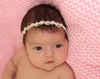Ivory Headband, Pearls Headband, Pearls Headpiece, Infant Headbands, Baby Headband, Newborn Headband, Baptism Headpiece