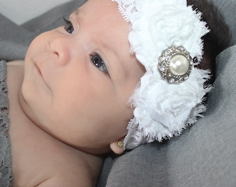 Baby Headband, White Headband, Lace Headband, Newborn Headband, Flower, Headband, Infant Headbands, Baby Girl Headband, Handmade Headband