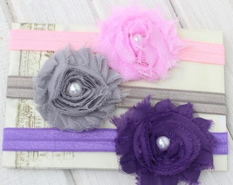 Baby Headband set, Pink Headband, Purple Headband, Kids Headbands, Gray Headband, Baby Headband, Flower Headband