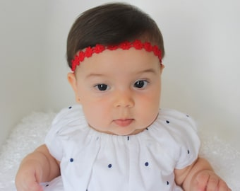 Christmas Headband, Red Baby Headbands, Baby Headbands, Red Headbands, Headband, Red Headband, Newborn Headband, Infant Headbands, Baby