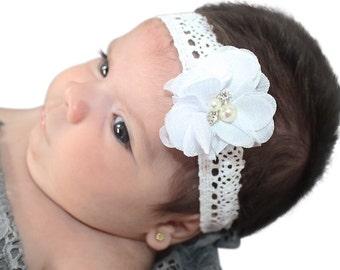 Flower Headband, White Headband, Handmade Headband, Baptism Headband, Newborn Headband, Flower Girl Headband, Christening Headband