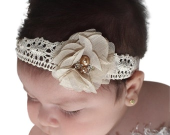 Beige Headband, Flower Headband, Baby Girl Baby Headband, baby Girl gift, newborn gift, Fabric Headband, Cotton Headband, Flower Headband