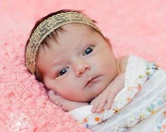 Gold Lace Headband, Gold Baby Headband, Baby Headband, Gold Headband, Infant Headband, Newborn Headband, Halo Headband, Infant Headbands