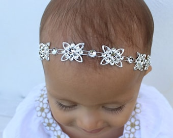 Silver Headband, Rhinestones Headpiece, Baptism Headband, Newborn Headband, Baptism Headband, Wedding Headpiece