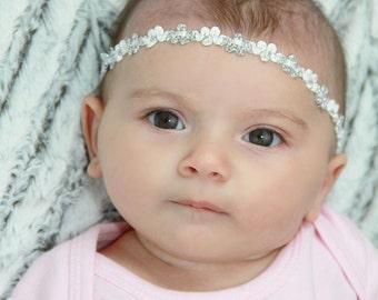 Silver Headband, Baby Headband, Silver Headpiece, Halo Headband, Headpiece Baptism, Wedding Headband