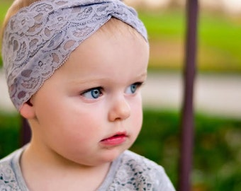 Gray Turban Headband,  Lace Headband, Turban, Baby Headwrap, Hair Accessories, Toddler Head Wrap, Girls Headpiece