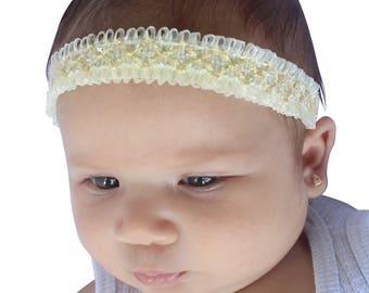 Baby headband, Beige Headband, Headband for Babies, Infant Headbands, Ivory Headband, Newborn Headband, Baby Headbands, Baby Headpiece