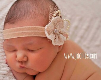 Christening Headband, Baby Flower Headband, Baby Headband, Headbands For Babies, Baptism Headband, Baby Hair Accessories, Baby Baptism