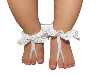 Crochet Baby Sandals, Crochet Baby Booties, Crochet Baby Shoes, crochet baby outfit, Barefoot Sandals, White Baby Sandals, Crochet Sandals