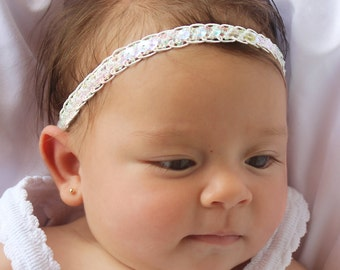 Baby Headband, Sequin Headband, White Halo Headband, White Baby Headband, Princess Headband, Christening Headband, White Headband