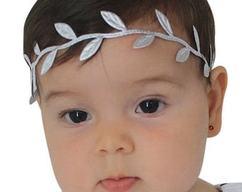 Newborn Headband, Silver headband, Baby shower gift, Baby headband, Infant Headband, Silver Headband, Grecian Headband, Greek Headband