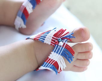 4th of July Sandals, 4th of July baby girl, Patriotic Baby Sandals, 4th of July Newborn Sandals, Baby Girl Sandals, USA Flag Sandals