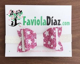 Bow Headband, Pink Headband, Vinyl Headband, Baby Girl Headband, Star Headband, Baby Bow Headband, Newborn Headband, Infant Headbands