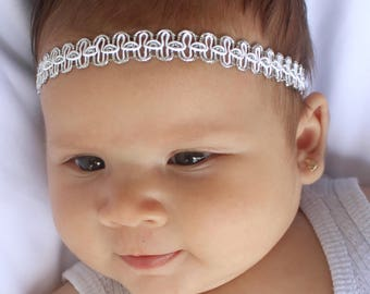 Little Girls Headband, Silver Headband, Newborn Headband, Baby Headband, Baby Girl Headband, tiny headbands, newborn photo prop