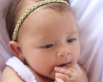 Infant Headbands, Baby Shower Gifts, Baby Girl Gift, Baptism Headband, Gold Baby Headband, Baby Headband, Gold Headband, Halo Headband
