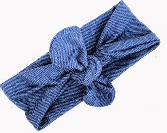Blue Jeans Knot, Baby Headband, Baby Turban Headband, Toddler Head Wrap, Baby Turban, Knot Baby Headband, Turban Baby Headband, Head Wrap