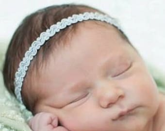 Baby Headband, Silver Headband, Baby Girl Headband, Silver Halo Headband, Newborn Headband, Infant Headbands, Headbands Wedding
