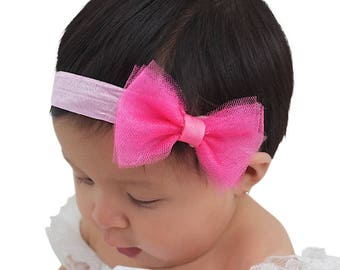 Birthday Headband, Baby Headband Bow, Pink Headband, Pink Infant Headband, Newborn Headband, Bow Headband, Baby Headpiece, Newborn Gifts