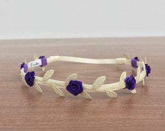 Purple Baby Headband, Grecian Headband,  Flower Headband, leaves headband, gold headband, Grecian Party Headband, Baby Girl Headband