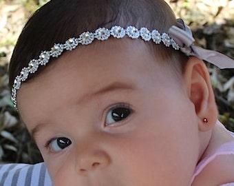 Silver Baby Headband, Headband, Baby Halo Headband, Infant Headbands, Baby Headband, Silver Headband, Plastic Headband, Wedding