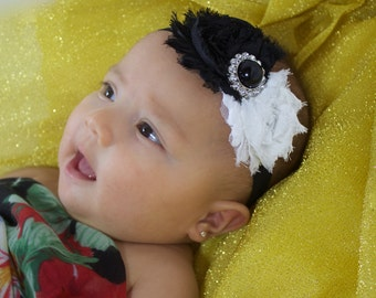 Headband with Flower, Black Headband, Baby Flower Headband, Infant Headbands, Newborn Headband