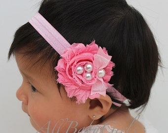 Pink Flower, Baby Flower Headband, Baby Headband, Newborn Headband, Infant Headband, Baby Girl Headband, Baby Head Wrap, Toddler Headband,