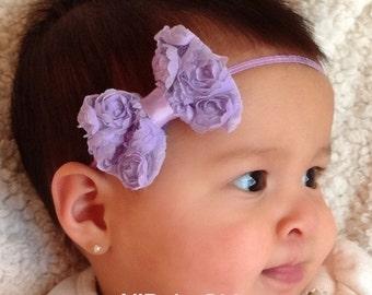Baby Headband Bow, Lilac Headband, Newborn Bow Headband, Bow Headband, Purple Headband, Baby Accessories, Hair Accessories, Headband Bow