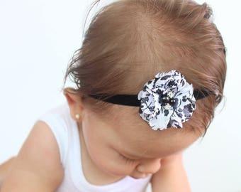 Black HeadbandBlack Baby Headband, Elastic Headband, Flower Headband, Baby Headband, Black Headband, Headband for Wedding, Baby Headpiece