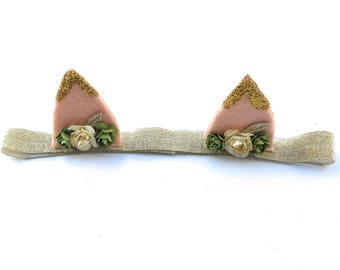 Ears Headband, Infant Ears Headband, Gold Ears Headband, Spring Headband, Girls Headband, Ear Headband