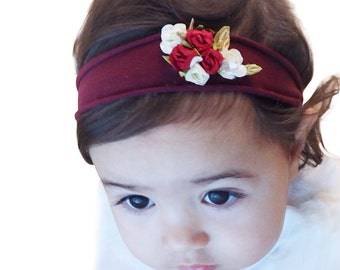Burgundy Headband, Baby Girl, Girls Headband, Headband for Girls, Flower Headband Baby, Toddler Headband, Flower Girl Headband