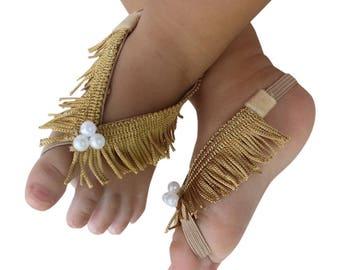 Barefoot Baby sandals, Barefoot Sandals, Fringe Baby Sandals, Gold Sandals, Gold Sandals, Barefoot Baby Sandals, Baby Barefoot Sandals