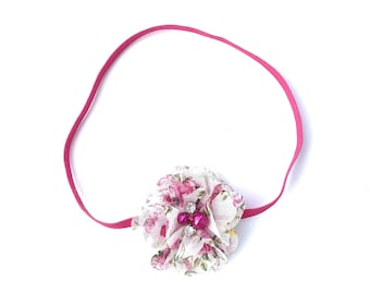 Hot Pink Headband, Floral Headband, White Headband, Pink Baby Headband, Flower Headband, Baby Headband, Newborn Headband, infant headband