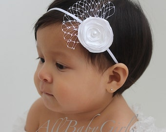 Baptism Headband, White Baptism Headband, Vintage Headband for Baptism, Flower Headband, Wedding Headband, Baptism Headpiece