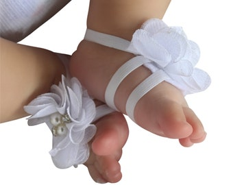 White Baby Sandals,  baby shower gift, baby girl shoes, Shoes for Little Girls, barefoot sandals, newborn sandals, baby barefoot sandal