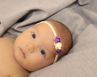 Purple Headband, Baby Headbands, Ivory Baby Headpiece, Headband Purple, Infant Headbands, Baby Headband, Halo Headband