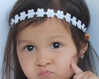 Silver Baby Headband, Girl Headband, Flower Headband Baby, Flower Headbands, Silver Baby Headband, Baby Halo Headband, Baby Headband