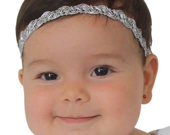 Silver Baby Headband, Silver Headband, Baby Halo Headband, Newborn Headband, Infant Headbands, Baby Headband, Halo Headband