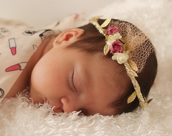 Grecian Headband, Infant Headband, Flowers Girl Headband, Pink Baby Headband, Gold Headpiece, Gold Headband, Baby Flower Headband